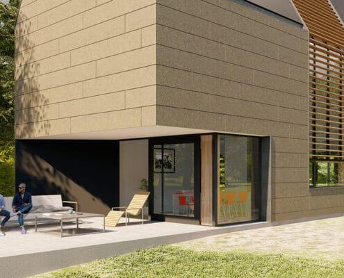 Kerloc facade met horizontale platen